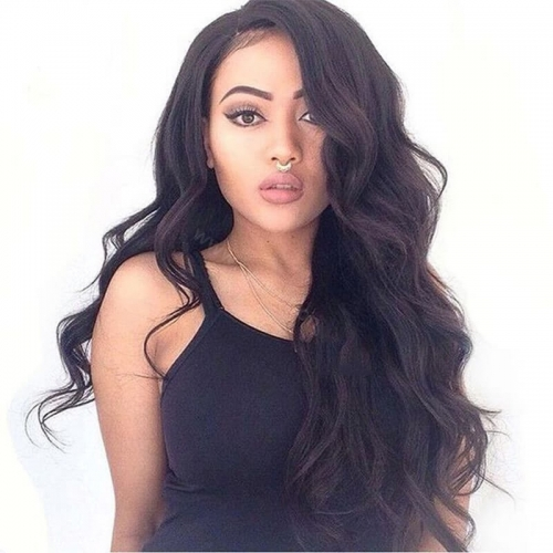 Swiss Lace Wigs Natural Black Malaysian  Human Hair Wig Body Wave Lace Front Wigs With Baby Hair Bleached Knots
