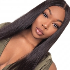 Yaki Lace Wig 100% Human Hair Natural Color Lace Front Wig For Sale Pre-Plucked Natural Hair Line 150% Density Hidden Knots