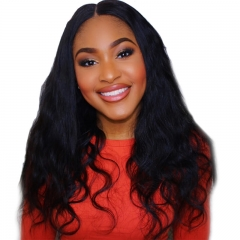 Cheap Lace Front Wigs Online For Black Women Elastic Cap Human Hair Body Wave Pre-Plucked Natural Hair Line Bleached Knots