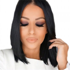 Lace Front Wigs Glueless Brazilian Remy Human Hair Short Straight Bob Wig for Black Women with Baby Hair Bleached Knots Natural Black Color 12inch