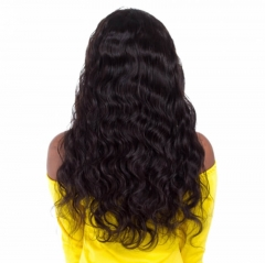 Black Hair Wigs Brazilian Human Hair Body Wave Natural Color Lace Front Wig Pre-Plucked Natural Hair Line Bleached Knots