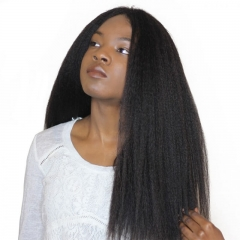 Natural Color Brazilian Virgin 100% Human Hair Kinky Straight Wig Cheap Lace Front Wigs With Baby Hair Pre Plucked Hair Line