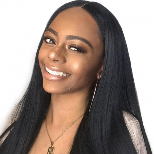 360 Lace Wig Silk Straight Brazilian Remy Human Hair 360 Full Lace Wigs with Baby Hair and Natural Hairline for Black Women Natural Color