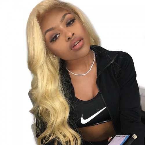 Blonde #613 360 Lace Frontal Wig Brazilian Human Hair Wigs For Women 360 Lace Wig Pre Plucked With Baby Hair
