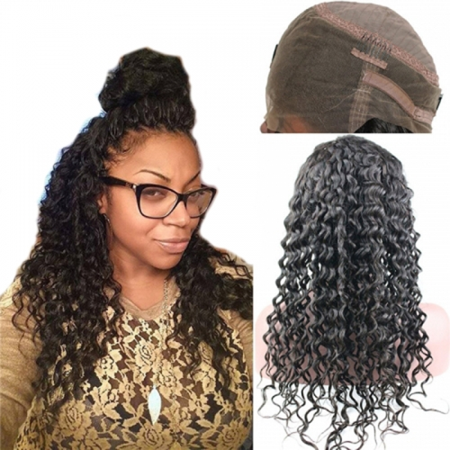 360 Lace Wig Deep Wave Extra Heavy Density Brazilian Remy Human Hair Full Lace Wigs with Baby Hair and Natural Hairline for Black Women Natural