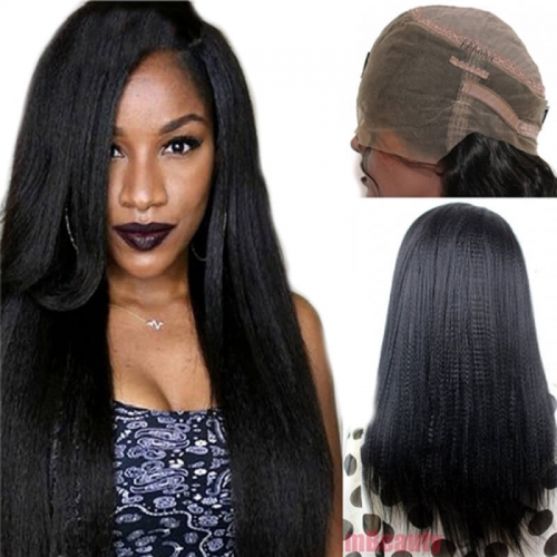 360 Lace Wig Yaki Straight Extra High Density Brazilian Remy Human Hair Full Lace Wigs with Baby Hair and Natural Hairline for Black Women Natu