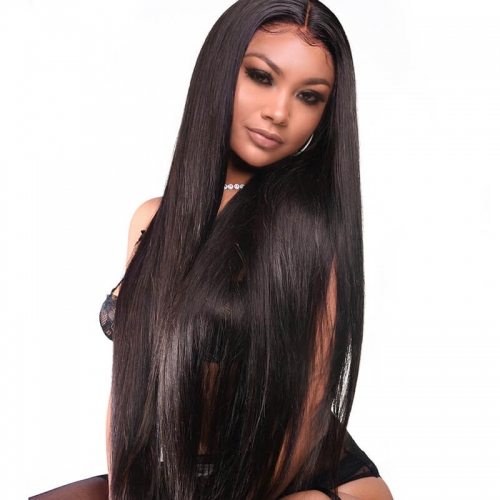 360 Lace Wigs 180% Density Silk Straight Brazilian Remy Hair 360 Lace Front Human Hair Wigs for Black Women Pre Plucked 360 Lace Frontal Wig