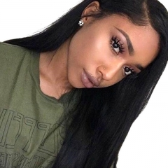 Silk Top Full Lace Wigs Natural Color Silky Straight Indian Hair 100% Virgin Human Hair Bleached Knots Pre-Plucked Natural Hair Line For Women