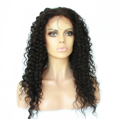 Silk Top Curly Wigs Natural Black Full Lace Wigs Deep Curly  Brazilian Virgin Human Hair Glueless Wig With Baby Hair Bleached Knots