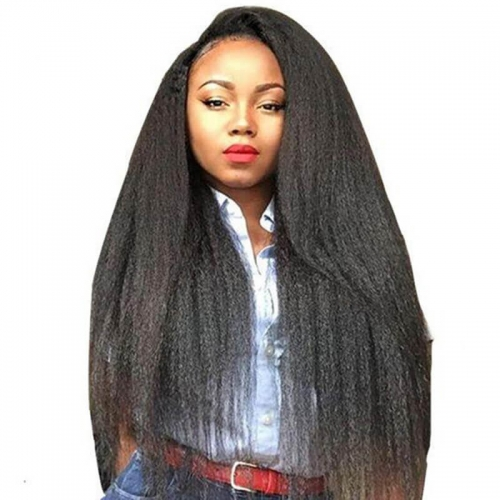 Full Lace Human Hair Wigs Silk Base Hidden Konts Kinky Straight Hair Natural Color Mongolian Human Hair Pre-Plucked Hair Line