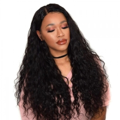 Cheap Silk Base Full Lace Wigs Natural Color Human Hair Glueless Lace Wig Water Wave Brazilian Hair Bleached Knots