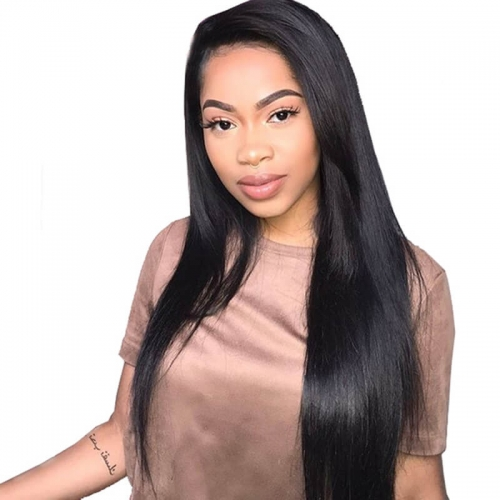Full Lace Wigs With Silk Top Pre-Plucked Natural Hair Line Straight Hair Brazilian Wigs 130% Density Wigs Bleached Knots With Baby Hair Around