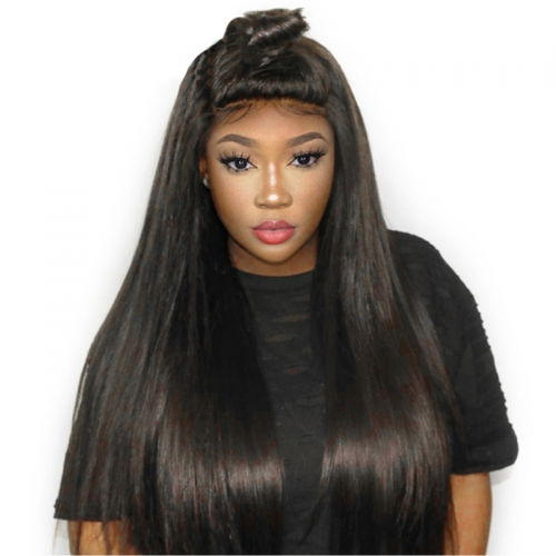 Full Lace Wigs Silk Base 130% Density Silky Straight Hair Wig With Natural Baby Hair Bleached Knots Natural Hair Line Pre Plucked