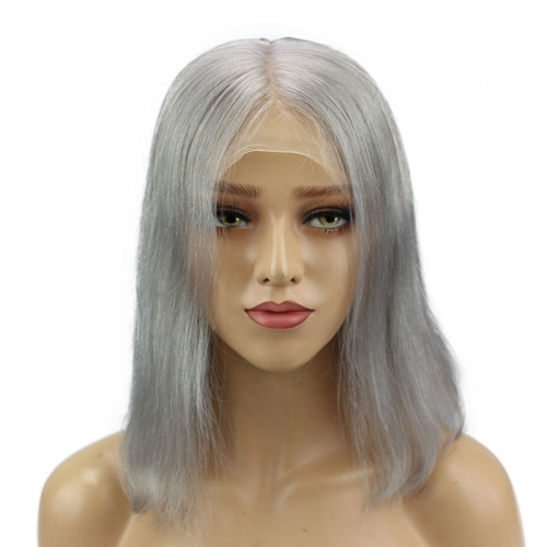 Deep Middle Part Bob Lace Front Wigs Grey 13x6 Human Hair Wigs For Women Natural Baby Hair Pre-Plucked Natura Hair Line