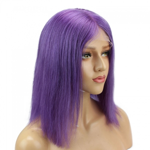 Purple Short Bob 13x6 Lace Front Wigs Remy Hair Middle Deep Part Shoulder Colored Human Hair Wig Baby Hair