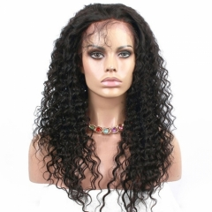 300% High Density Lace Front Human Hair Wig Deep Wave Unprocessed Brazilian Human Hair Lace Front Wig for Black Women Natural Color