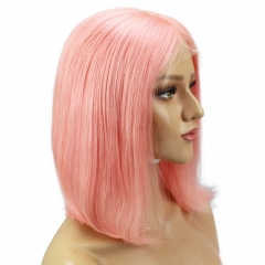 Short Shoulder Bob Lace Front Wigs Brazilian Straight Cut Human Hair Transparent Lace Wigs Pink Color