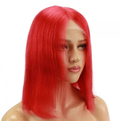 Red Bob Lace Front Wigs 13x6 100% Human Hair Short Brazilian Hair Wigs For Women Deep Part Middle Bleached Knots With Natural Hair Line