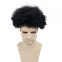 "8""x10"" Human Hair Men's Toupee Afro Curl Pu Front with Mono Lace Back"