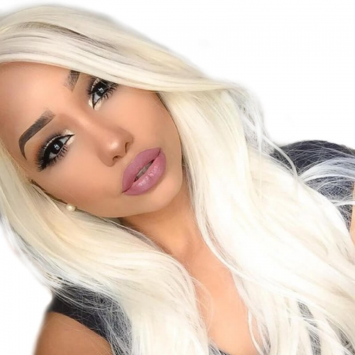 Color #60 Straight Brazilian Human Hair Lace Wigs 130% Density Bleached Knots With Natural Baby Hair Pre Pluched Hair Line For Women