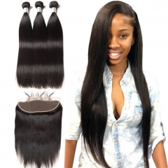 Silky Straight Hair 3 Bundles With Frontal Brazilian Human Hair Weave 13x4 Pre Plucked Lace Frontal Closure With Baby Hair Around