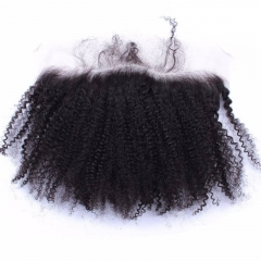 Natural Color Human Hair Afro Kinky Curly Hair Bundles 3PCS with 13X4 Lace Frontal Baby Hair Around Bleached Knots