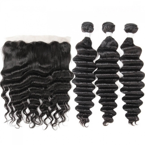 Brazilian Deep Wave Virgin Hair Unprocessed Human Hair Bundles 3pcs with 13x4 Lace Frontal Closure Pre Plucked With Natural Baby Hair