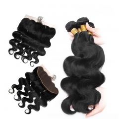 Body Wave Human Hair Bundles with 13X4 Lace Frontal Closure Bleached Knots Pre Plucked
