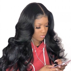 250% Full Density Brazilian Body Wave 13X6 Deep Parting Lace Frontal Wigs Bleached Knots With Baby Hair