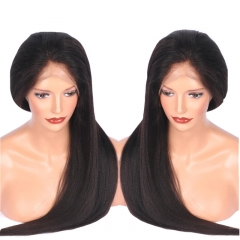 Yaki Straight 13x6 Lace Front Human Hair Wigs For Women Indian Remy Hair Lace Frontal Wigs Pre Plucked With Baby Hair