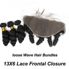 13x6 Lace Frontal With 3 Bundles Brazilian Loose Wave Bundles With Frontal Closure With Baby Hair 100% Human Hair Natural Color