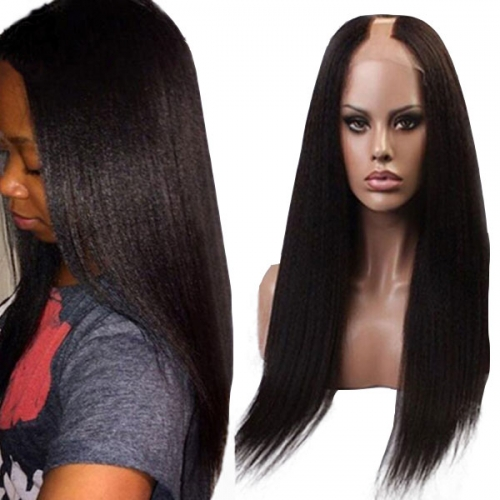 U Part Wig Human Hair for Black Women Brazilian Yaki Straight Natural Color