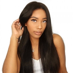 13x6 Lace Front Human Hair Wigs With Baby Hair 250% Density Straight Brazilian Hair Wigs Bleached Knots With Natural Baby Hair