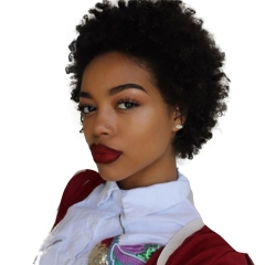 Short Afro Curl Human Hair Wigs 100% Brazilian Remy Human Hair Short Kinky Curly None Lace Full Wig for African American Women
