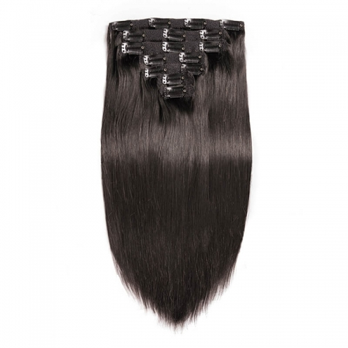 Silky Straight Human Hair Clips in Hair Extension Brazilian Natural Color Human Hair