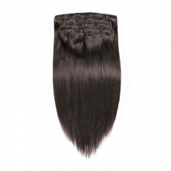Silky Straight 100% Human Hair Clips in Hair Extension Brazilian Natural Color Human Hair