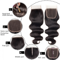 Free Part Body Wave 5x5 Lace Top Closures Natural Color Pre Plucked Hair Line