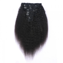 Kinky Straighy Human Hair Natural Color Clips in Hair Extension On Sale