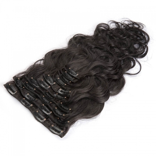 Clips in Hair Extension Unprocessed Body Wave Natural Color Brazilian Human Hair