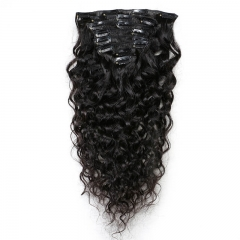 Curly Brazilian Natural Color Clips in Hair Extension Can Be Dyed Human Hair