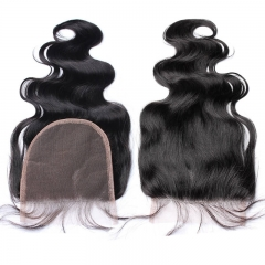 Unprocessed Brazilian Hair Closure Body Wave 5X5 Lace Closures With Baby Hair Around Natural Color