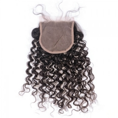 Curly Natural Color Lace Closure With Natural Baby Hair Bleached Knots Lace Size 5x5 100% Unprocessed Human Hair