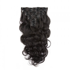 Clips in Hair Extension 100% Unprocessed Body Wave Natural Color Brazilian Human Hair