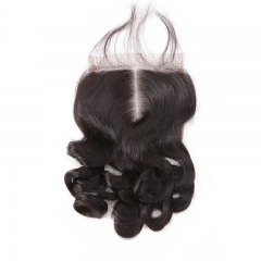 Middle Part Loose Wave Virgin Human Hair Lace Top Closure Size 5x5 Natural Color Bleached Knots