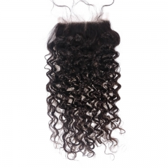 Curly Natural Color Lace Closure With Natural Baby Hair Bleached Knots Lace Size 5x5 Unprocessed Human Hair