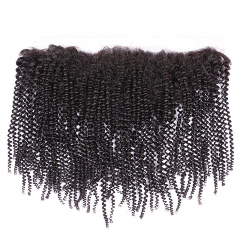 Afro Kinky Curly Human Hair Lace Frontal Closures With Baby Hair Bleached Knots 13x6