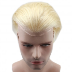 Color #613 French Lace Men Toupee For Men Bleached and tiny Knots Hair Replacement