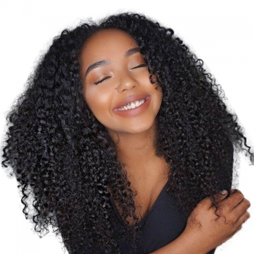 Affordable Human Hair Wigs Natural Black Brazilian Human Hair Natural Color Afro Kinky Curly Wig Lace Front Wigs With Baby Hair Bleached Knots