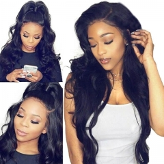 Lace Front Wigs for Black Women Elastic Cap Human Hair Wig Body Wave Pre-Plucked Natural Hair Line