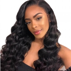 Silk Top Full Lace Wigs Inexpensive 130% Density Wigs Brazilian Loose Wave Silk Base Human Hair Wigs Ponytail Wigs Pre-Plucked Natural Hair Line